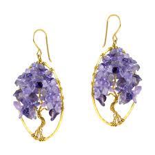 fabulous earrings sparkling garden amethyst tree of brass earrings aeravida