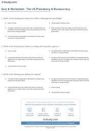 Us Cabinet Agencies Quiz U0026 Worksheet The Us Presidency U0026 Bureaucracy Study Com