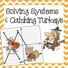 solving systems by graphing thanksgiving activity maths