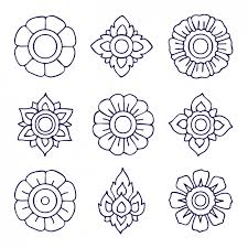 outlined floral ornaments design vector free