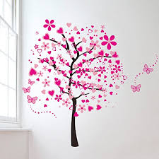 Heart Wall Stickers For Bedrooms Elecmotive Huge Size Cartoon Heart Tree Butterfly Wall Decals