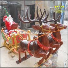 Christmas Decorations Life Size Reindeer by Life Size Christmas Santa Claus Reindeer Sleigh Fiberglass Resin