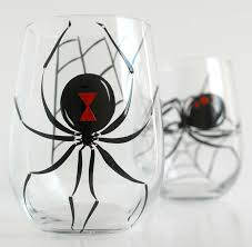 halloween wine glasses black widow spider halloween glasses set of 2 hand painted