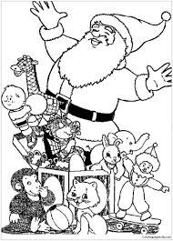 santa and lots of dolls christmas coloring page free coloring