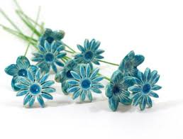 turquoise flowers bridal bouquet ceramics by orly
