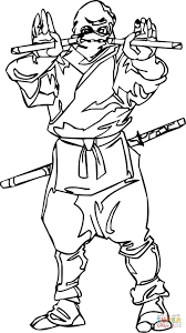 ninja with the nunchaku coloring page free printable coloring pages