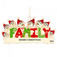 snow family of 8 personalized ornament and city