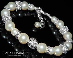 white swarovski crystal bracelet images Bridal pearl bracelet white pearl wedding bracelet swarovski white jpg