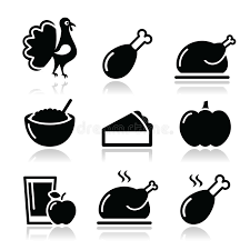 thanksgiving day food icons set turkey pumpkin pie cranberry