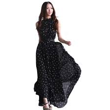 aliexpress com buy fashion women u0027s polka dots maxi dress long