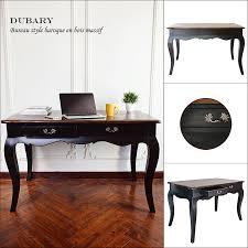 bureau style romantique dubary bureau romantique en bois massif noir vernis l 120 cm