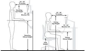 proper height for standing desk office ergonomics tandem