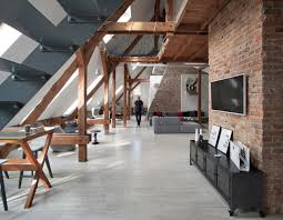 office attic converted into loft apartment keeping original wood
