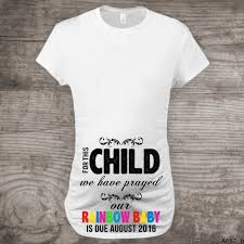 Maternity T Shirt Rainbow Baby Pregnancy Announcement Shirt