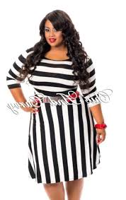 plus size black and white striped dress pluslook eu collection