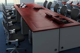 conference table with recessed monitors revolution desk revolutionizes our working space designbuzz