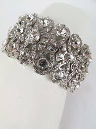 rhinestone cuff bracelet images Fancy crystal rhinestone stretch cuff bracelet blue velvet vintage jpg