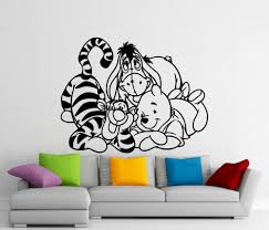 pooh wall mural promotion shop for promotional pooh wall mural on winnie the pooh cute vinyl wall mural pooh bear with eeyore tigger piglet cartoon home children room art decor wall decal wm 15