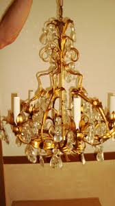 Tole Chandelier Antique Vtg Gold Leaf Italian Tole Chandelier W Crystals Gilded