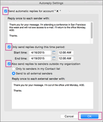 send automatic out of office replies from outlook for mac