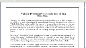 Bill Of Sale Vehicle Template by Vehicle Promissory Note And Bill Of Sale Youtube