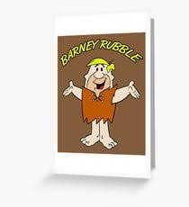 barney rubble greeting cards redbubble