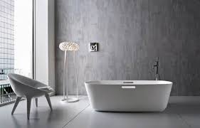 lovely open desaign minimalist bathroom with chic pure bathub near