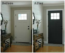 updating the entryway with sherwin williams iron ore gray paint