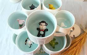 Cute Coffee Cups Amazon Com 3d Cute Cartoon Miniature Animal Figurine Ceramics