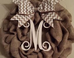 monogram wreath monogram burlap wreath craft ideas