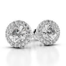 diamond studs earrings 70 1 10 ct g si3 halo cut diamond stud earrings