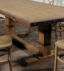 teak trestle dining table iron edge industrial teak trestle dining table 8 sizes jonathan