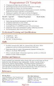 programmer curriculum vitae sample