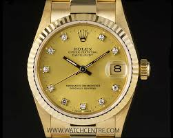 golden rolex rolex 18k yellow gold diamond dial mid size datejust 68278