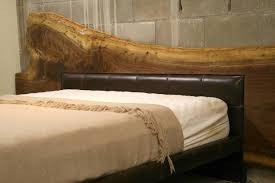 Leather Headboard Queen Bed by Live Edge American Black Walnut Bed Frame With Leather Headboard
