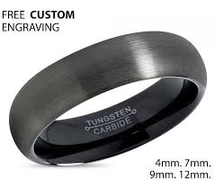 gunmetal wedding band gunmetal tungsten ring black wedding band ring tungsten carbide