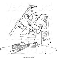 cartoon vector of cartoon snow sport guy coloring page outline