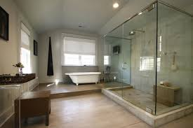 Pool Bathroom Ideas by Toilet Near White Lacquer Pedestal Sink Freestanding Acrylic