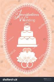 wedding invitation lettering cake doves wedding stock vector