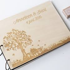 wedding guest book photo album personalized engraved tree wedding photo album custom wood