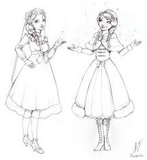 anna elsa fashion sketch moon milk deviantart