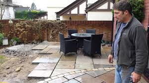Indian Sandstone Patio by Laying A New Indian Sandstone Patio In Cardiff South Wales Youtube