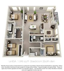 3 bedroom 2 bath house 50 three 3 bedroom apartment house plans open floor 3d and