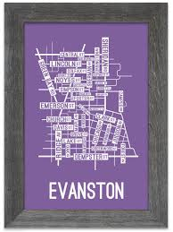 Evanston Illinois Map by Evanston Illinois Street Map Print Street Posters