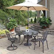 patio table chairs umbrella set home styles largo 7 piece outdoor patio dining set with umbrella