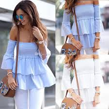 summer blouses summer shoulder tops 2018 fashion ruffles flare