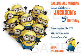 general minions birthday party invitation card for kids wahagent