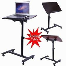 Rolling Table Desk Hospital Bedside Table Tray Rolling On Wheels Overbed Over Laptop