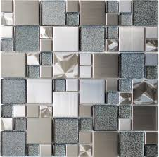Johnson Kitchen Tiles - tile modern cobble stainless steel with silver glass tile modern