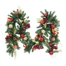 9 ft battery operated plaza artificial garland with 50 clear led